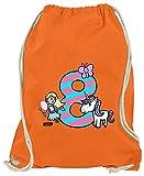 Hariz Bolsa de deporte, unicornio, princesa, 8 cumpleaños, regalo para niños, incluye tarjeta de regalo, naranja (Naranja) - AchterGeburtstag08-WM110-8-1