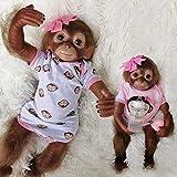 Muñecas Reborn 50 Cm / 20 Pulgadas Realista Bebe Mono Renacido En Silicona con Pelo, Correa De Mezclilla Chimpancé Juguetes para Niños Cumpleaños