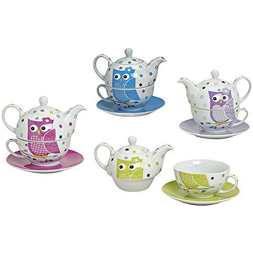 Teekannen-Set 'Eule' Porzellan, Kanne mit Tasse & Untertasse, 3-teilig (Farbe zufällig, 1 Set)