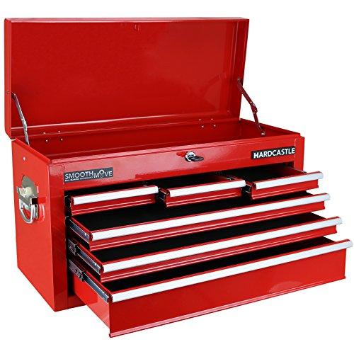 Hardcastle - Werkzeugwagen in Kastenform - Mit 6 Schubfächern und Schloss für oberes Fach - Rot