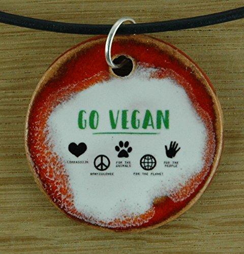 Echtes Kunsthandwerk: Toller Keramik Anhänger Go Vegan; Vegetarier, Veganer, Tierschutz