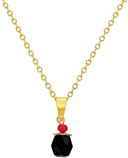 14k Gold Plated Evil Eye Protection Jet Black Simulated Azabache Pendant Necklace 16