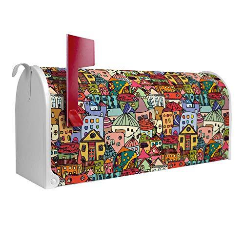 BANJADO US Mailbox | Amerikanischer Briefkasten 51x22x17cm | Letterbox Stahl weiß | mit Motiv Funky Town