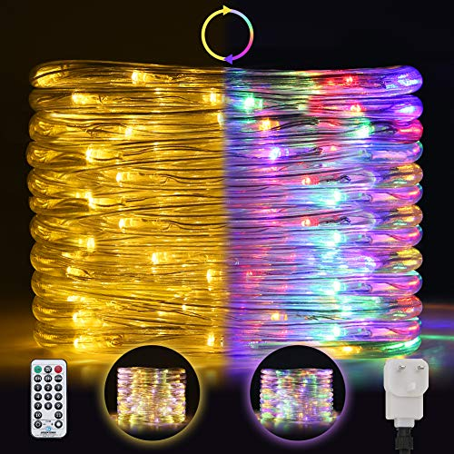Ollny Outdoor Rope Lights Plug in,120 Led Lights Strip Tube Lights,Color Changing Fairy String Lights with Remote 11 Modes for Christmas Party Bedroom Patio Indoor Garden Decoration(7m/23ft)