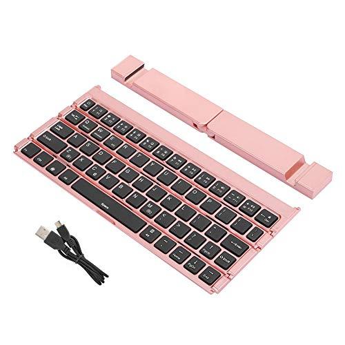 Dpofirs Mini Tastiera Bluetooth Wireless Universale Pieghevole, Tastiera Portatile Rosa con Supporto per telefoni cellulari e Tablet, Tastiera in Lega Ultra silenziosa e Sottile