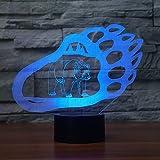 (Solo 1) Hotsale 2017 3d Led Lampada Bears Moldura Visual 7 colores Luz nocturna Material acrílico Gradiente Atmósfera Lámpara de habitación