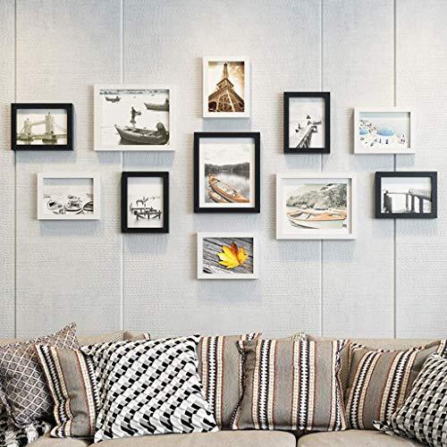 HEWEI Collage voor muur of muur collage fotolijst, fotolijst, fotogalerij van hout, decoratie voor 4 stijlen, 11 stuks (kleur D)
