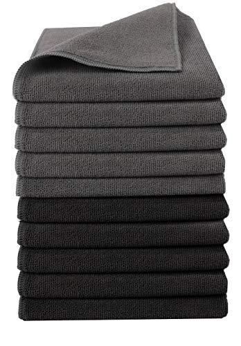 Home-Tex Premium Mikrofaser-Putztuch | Extra Saugstark 300 g/m² | Hochwertiges Microfaser Reinigungstuch für Auto und Haushalt (40 x 40 cm | 10er Set, Schwarz + Grau)