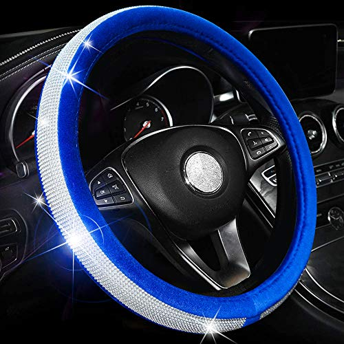 Valleycomfy Crystal Diamond Steering Wheel Cover Soft Velvet Feel Bling Steering Wheel Cover for Women Universal 15 inch Plush Wheel Cover (Blue)