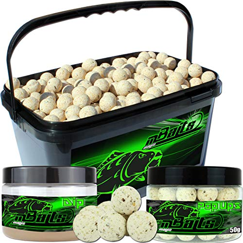 Angel-Berger Session Set Boilies Pop Ups Dip (Vanille, 20mm)