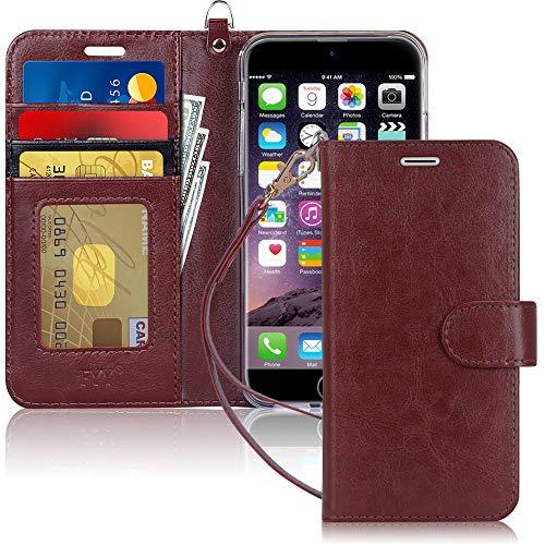 Capa de Celular FYY, Couro PU, Suporte, Compartimentos para Cartão, Compatível com Iphone 8 Plus E 7 Plus - Marrom