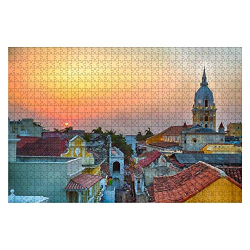 Wooden Puzzle 1000 Pieces Sunset Over Cartagena Beautiful Church Stock Pictures Royalty Free Jigsaw Puzzles for Children or Adults Educational Toys Decompression Game