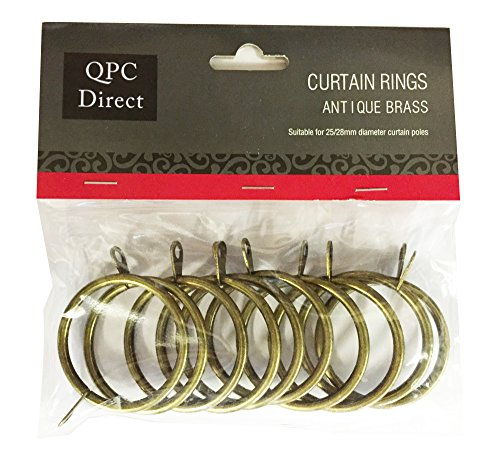QPC Direct 42mm Diameter Large Heavy Duty Metal Curtain Rings, 10 PACK (Antique Brass)