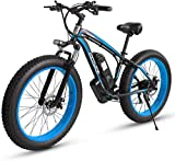 Electric Snow Bike, Electric Bikes for Adults Women Men, 4.0' 26 Inch Fat Tire Electric Bike 48V /18AH 1000W Motor Snow Electric Bicycle with 21 Speed with IP54 Waterproof Lithium Battery Beach Crui