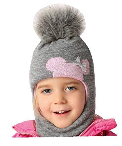 AJS Mädchen Schlupfmütze Wintermütze Ballonmütze Beanie für Mädchen 3-6 Jahre alt, 50-54 cm Kopfumfang, sehr dehnbar in 9 Farben (Grau - dunkel/Hell-rosa C)