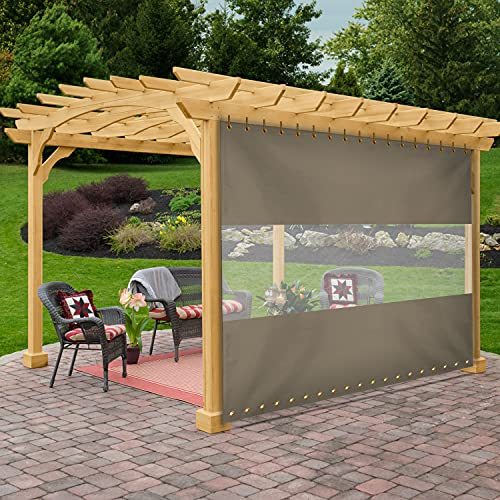 of all year round gazebos dec 2021 theres one clear winner Outdoor Vinyl Curtain with Clear Tarp Panel 12 Oz Pack of 1 - 100% Weather Resistant Outdoor Curtain - with Rustproof Grommets - for Pergola, Porch, Gazebos (4'H x 7'W, Beige)