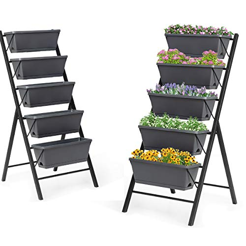 Giantex Set of 2 Vertical Raised Garden Bed, Elevated Planter Raised Beds with Water Drainage, Freestanding 5 Container Boxes for Vegetables and Flowers Growing, Outdoor Indoor Patio Balcony