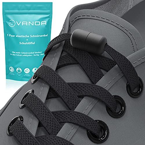 VANOA Elastische Schnürsenkel ohne Binden - flach - mit Metallkapseln in matt inkl. Schuhlöffel