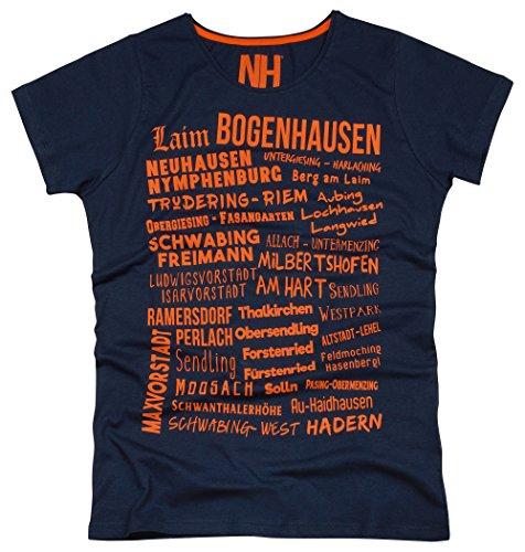 München Stadtteile Herren T-Shirt Rundhalsausschnitt Slim Fit Navy Orange Größe L