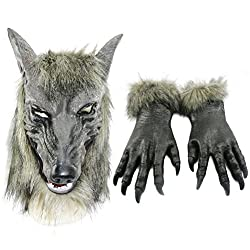 Odowalker Halloween Werewolf Costume Wolf Claws Gloves and Head Mask