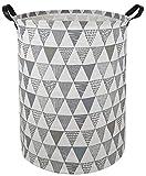 KUNRO Large Sized Storage Basket Waterproof Coating Organizer Bin Laundry Hamper for Nursery Clothes Toys (Grey Triangle)