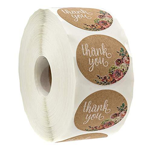 YRSM 500 Piezas/Rollo de Papel Kraft Pegatinas de Agradecimiento Florales Pegatinas para Hornear Envases para Pasteles Etiquetas de decoración Pegatinas de Sellado