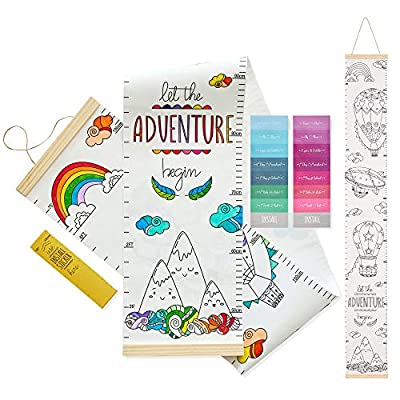 KIDDIEMETER Growth Chart for Kids Height Ruler - Hanging Coloring Canvas Child Measurement Tracking - Children Room Decor Nursery Playroom Decoration - Wall Scale Measuring Toddler