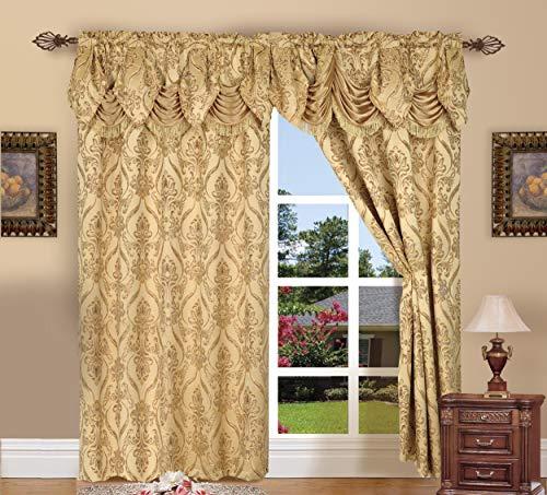 Elegant Comfort Penelopie Jacquard Look Curtain Panels, 54 by 84-Inch, Gold, Set of 2, Penelopie Gold