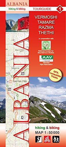 Vermoshi, Tamare, Razma, Thethi; Wanderkarte und Radkarte in 1:50.000, Albanien Nr. 1