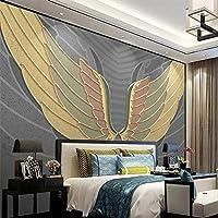 Empty カスタム写真の壁紙モダンな手描きの翼パターン3Dゴールデンレリーフライン壁画リビングルームテレビソファベッドルーム3D家の装飾-350x250CM