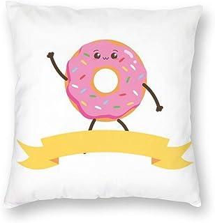 N/A Kawaii Donut Fast Food Cartoon Vector Illustration, Funda de Almohada Funda de Almohada Funda de cojín Decorativa Cuadrada Suave para Coche Sofá Cama Sofá Sala de estar45cm x 45cm