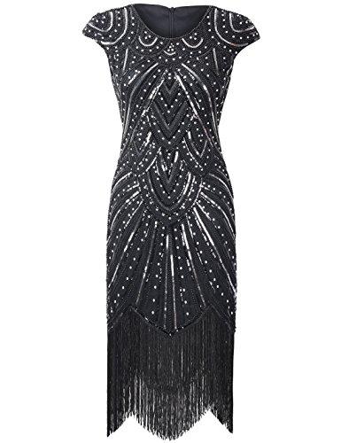 PrettyGuide Damen 1920er Gastby Diamant Pailletten verschönert mit Fransen Flapper Kleid