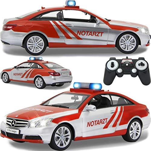 Einsatzfahrzeug / Auto ferngesteuert Modell Mercedes Benz E-Klasse (E 350) Coupe 1:16 RC mit Sound Beleuchtung und verschiedenen Fahrfunktionen (Notarzt)