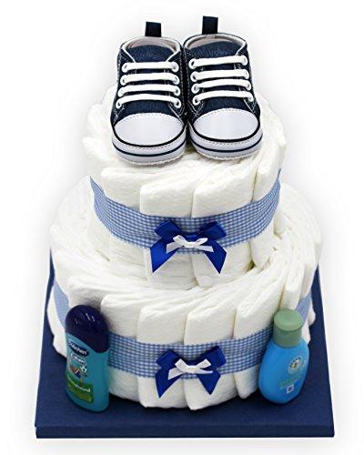 Windeltorte'Blue Shoes' für Jungen - mit süßen Babyschuhen - das perfekte Geschenk zur Geburt oder Taufe + gratis Grußkärtchen