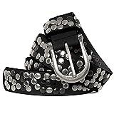 Caspar GU223 Damen Vintage Nietengürtel, Gürtelgröße:85, Farbe:schwarz