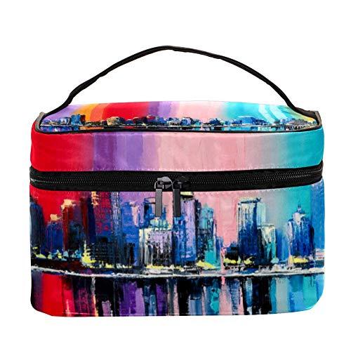 Trousse de maquillage colorée avec motif ancres - Trousse de toilette de voyage avec poignée, pinceaux de maquillage, rouge à lèvres
