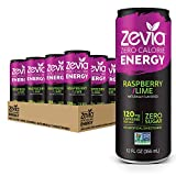 Zevia Zero-Calorie, Naturally Sweetened Energy Drink, Raspberry Lime, 12 Ounce (Pack of 12)...