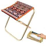 Gshy - Mini silla plegable portátil plegable de tela Oxford, estilo étnico, silla de camping duradera con bolsa para senderismo, pesca, viaje al aire libre, picnic (naranja)
