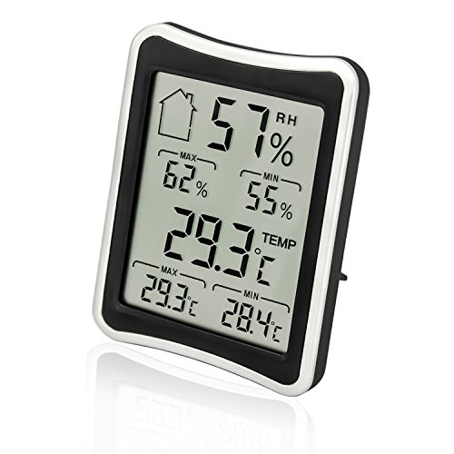 HICYCT Thermomètre digital hygromètre 2018,[Nouvelle version]météo Intérieur Extérieur Thermomètre hygromètre Gauge,min/max Records,Confort,rayonnement,C/F Switch,pour la maison,bureau,jardin,ect