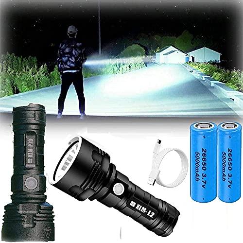 XLM P70 LED Linterna - 30000-100000 lúmenes de alta potencia, 3 modos Super brillante linterna impermeable, USB Rechargeable Flashlight Torch for Camping, Hogar, Emergencia (25W XLM-L2, Bateria doble)