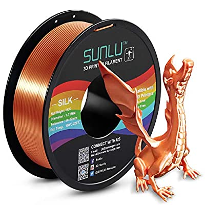 SUNLU Silk PLA Filament 1.75mm, 3D Printer Filament Silk, Silky Shiny Filament PLA for 3D Printers and Pens, 1kg(2.2Lbs)/Spool, Silk RedCopper