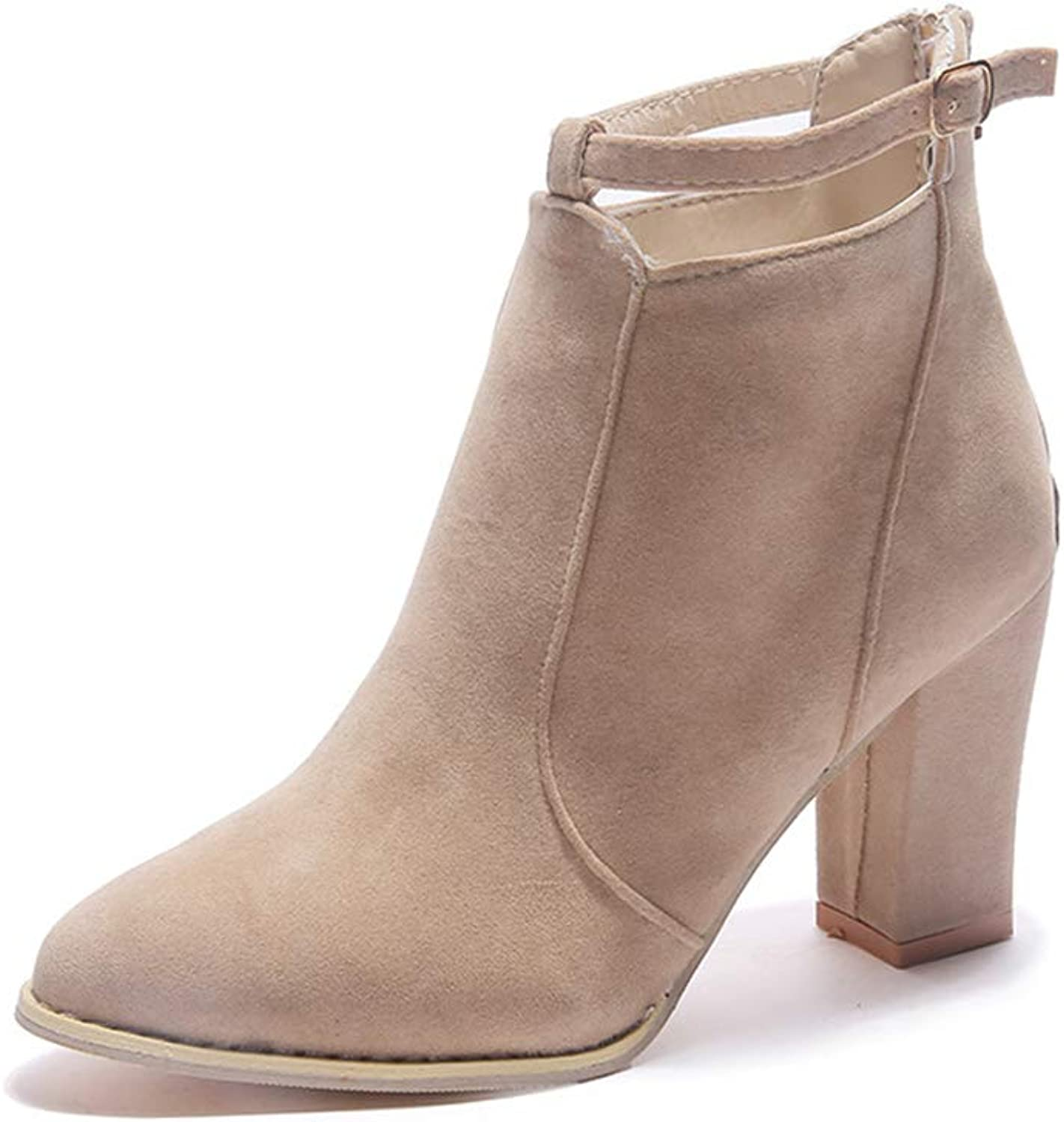 CHENSF Womens Stylish Buckle Strap Dress Ankle Bootie