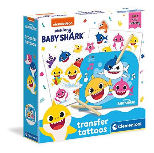 Clementoni- Baby Shark-Transfer Tattoos-Set, Laboratorio, Kit Tatuaggi temporanei per Bambini 5 Anni+, Multicolore, 18627