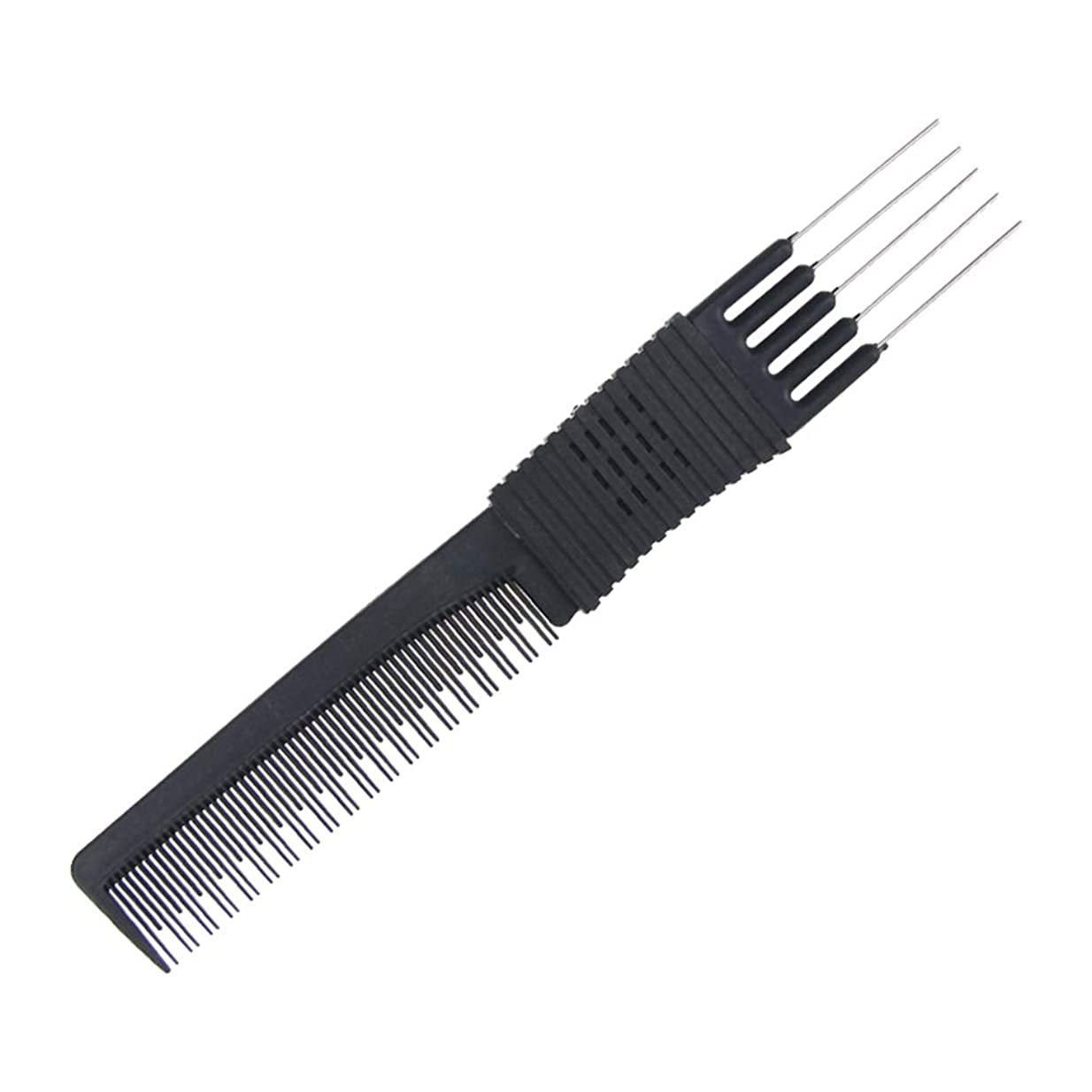 再生的面白いスクラップブックLurrose 5つのステンレス鋼ピンが付いている大広間の黒いカーボン上昇のからかいの櫛の理髪師の熊手