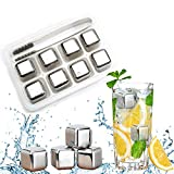 Stainless Steel Ice Cubes, Whiskey Stones Reusable Whiskey Rocks Set Whiskey Chilling Stones