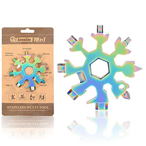 Saker 18-in-1 Snowflake Multi-Tool,AMENITEE 18 In 1 Incredible Tool – Easy N Genius - Saker 18-in-1 Stainless Steel Snowflakes Multi-Tool (RAINBOW COLOR)