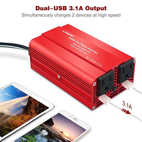 LVYUAN 500W Power Inverter DC 12V to 110V AC Car Inverter Converter with 3.1A Dual USB Car Adapter