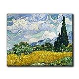 Van Gogh Prints Trigo Campo con Cipreses Vintage Posters Cuadros Famosos Paisaje Lienzo Decoración Moderna del Hogar (30,5 x 40,6 cm Sin Marco)