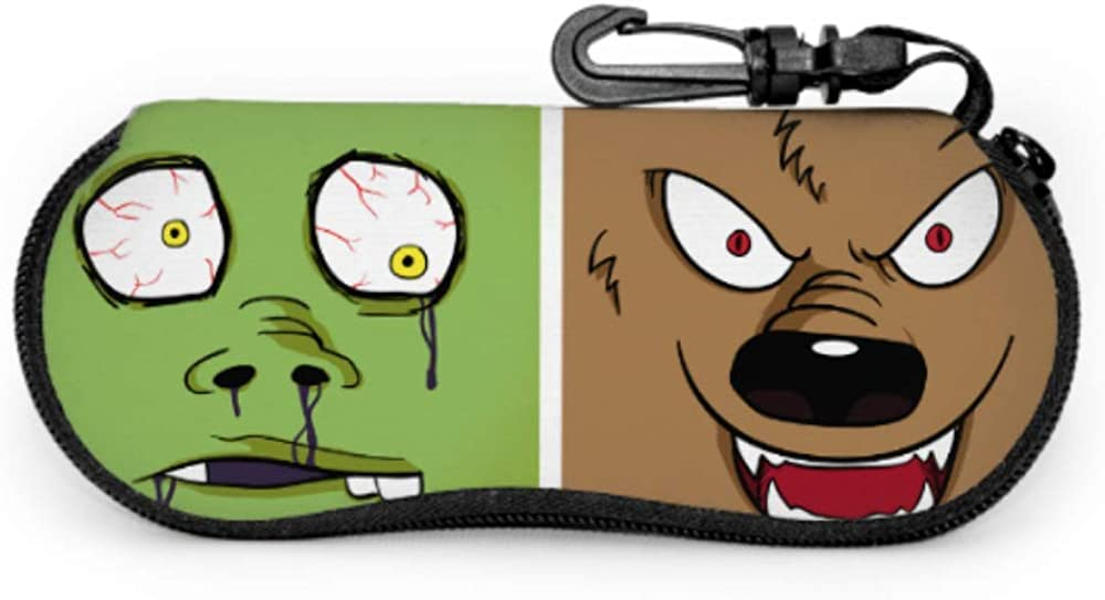 Cartoon Cute Wolf Sunglasses Case For Men Eyeglass Case Kids Light Portable Neoprene Zipper Soft Case Eyeglass Case Bag