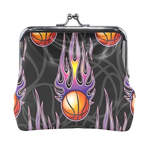 Brieftasche Sport Basketball Power Fire Lila Geldbörse Taschen Leder Wechselhalter Karte Clutch Handtasche